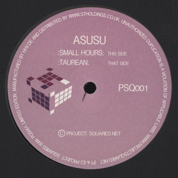 "Asusu - Small Hours / Taurean 12"" Project Squared PSQ001"
