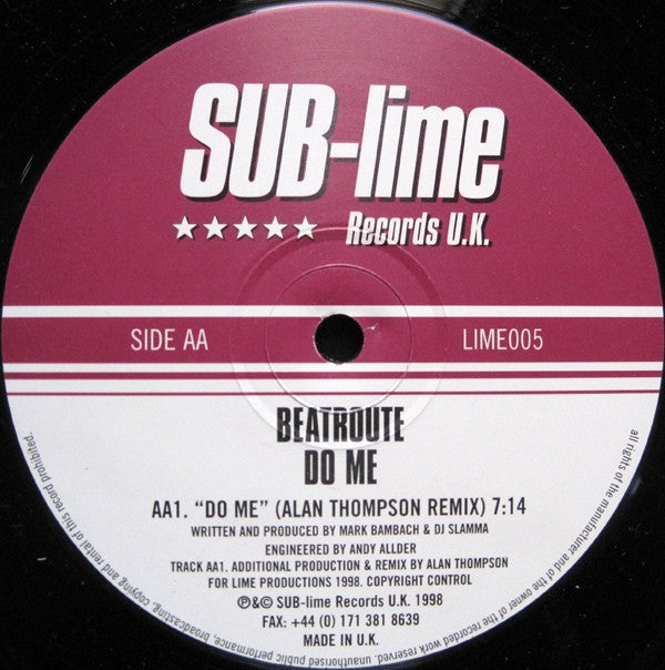 "Beatroute - Do Me 12"" SUB-lime Records UK LIME005"