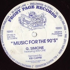 "G. Simone Featuring KRS-One - Music For The 90's 12"" Front Page Entertainment FP1901, FP1902"