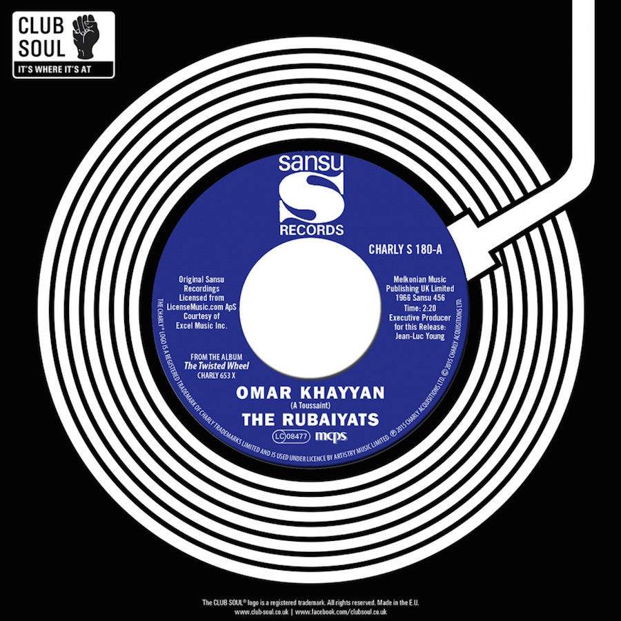 "The Rubaiyats / John Williams & The Tick Tocks - Omar Khayyam / Do Me Like You Do Me 7"" CHARLYS180 Sansu RSD"