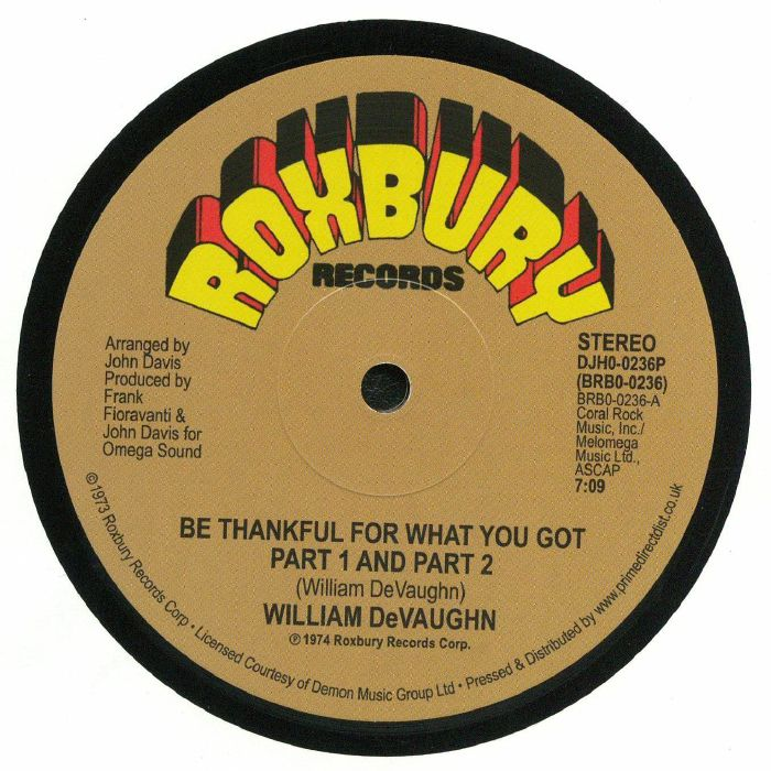 William DeVaughn ‎– Be Thankful For What You Got - Roxbury Records ‎– DJH0-0236P