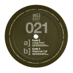 "Code 3 - Living Proof 12"" Exit Records EXIT021"