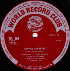 "George Shearing - George Shearing With Dakota Staton 12"" World Record Club TP 196"