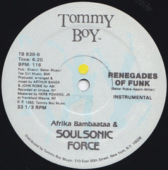 "Afrika Bambaataa & Soulsonic Force - Renegades Of Funk! 12"" Tommy Boy TB 839"