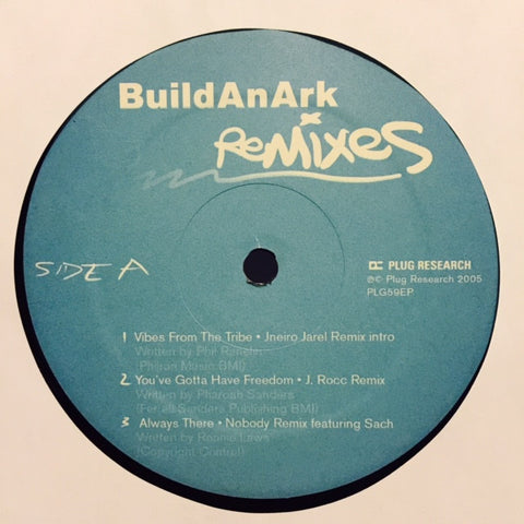 "Build An Ark ‎– Remixes 12"" Plug Research ‎– PLG59EP"