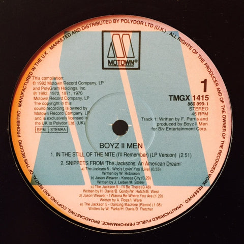 "Boyz II Men - In The Still Of The Nite (I'll Remember) 12"" TMGX1415, 8600991 Motown"