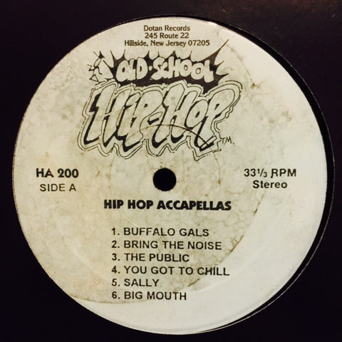 "Various - Hip Hop Accapellas 12"" HA200 Dotan Records"