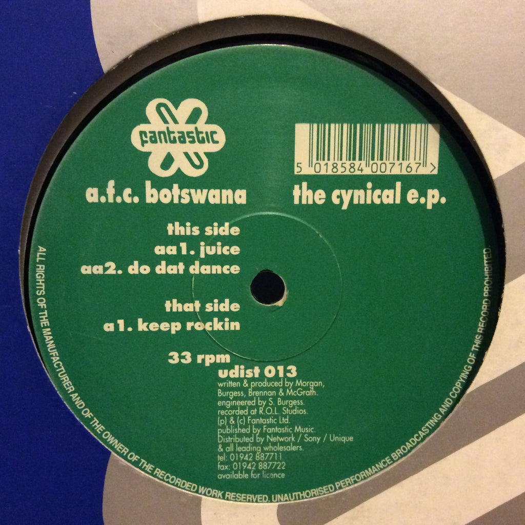 "A.F.C. Botswana - The Cynical E.P. 12"" Fantastic Records udist 013"