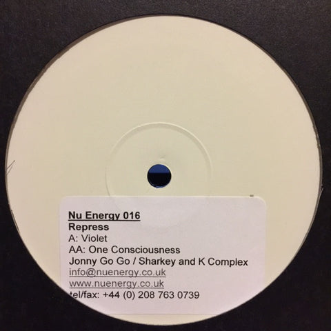 "Johnny Go Go / Sharkey & K-Komplex ‎– Violet Skies / One Consciousness 12"" PROMO Nu Energy ‎– NU NRG 016"