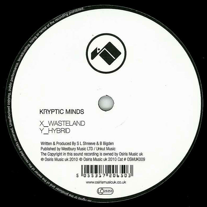 Kryptic Minds - Wasteland / Hybrid - OSMUK009 Osiris Music UK