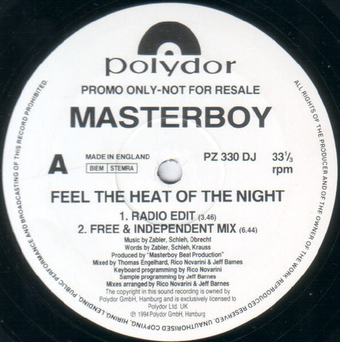 Masterboy ‎– Feel The Heat Of The Night - Polydor ‎– PZ 330 DJ