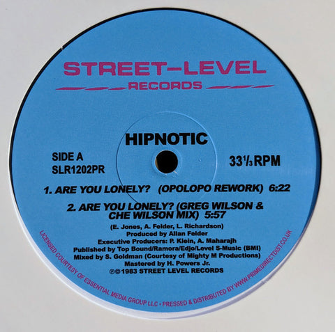 Hipnotic - Are You Lonely Remixes - Street-Level Records ‎– SLR1202PR