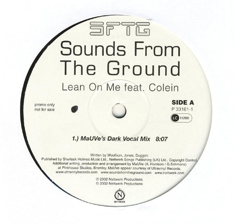 "Sounds From The Ground ‎– Lean On Me 12"" Nettwerk ‎– P33161-1"