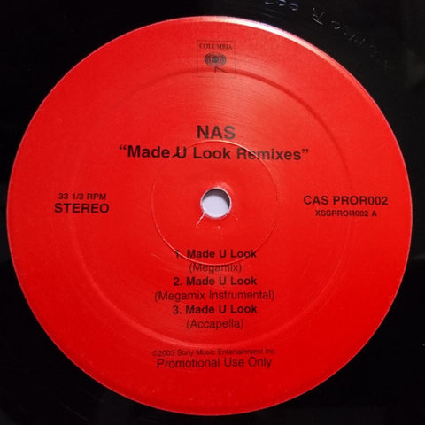 Nas ‎– Made U Look Remixes - Columbia ‎– CAS PROR002