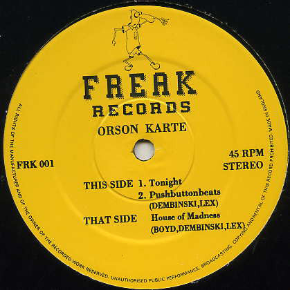 Orson Karte ‎– Tonight - Freak Records ‎– FRK 001