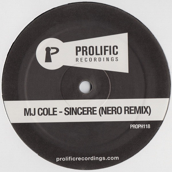 "MJ Cole - Sincere (Nero Remix) 12"" PROPH118 Prolific Recordings"