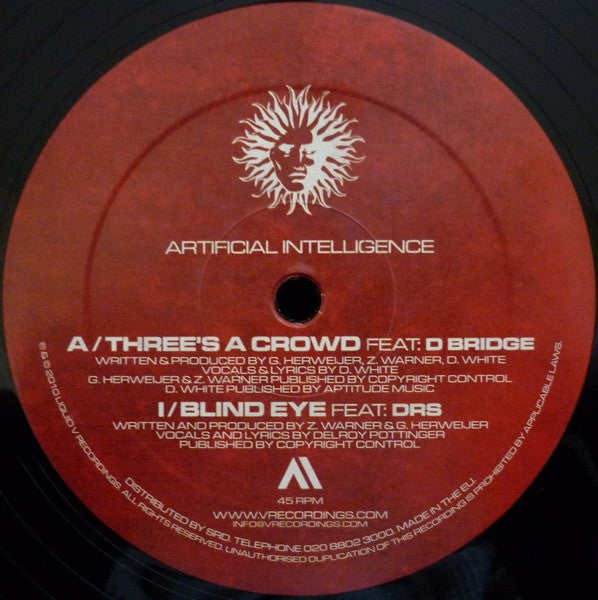 "Artificial Intelligence - Three's A Crowd / Blind Eye 12"" PLV007 V Records"