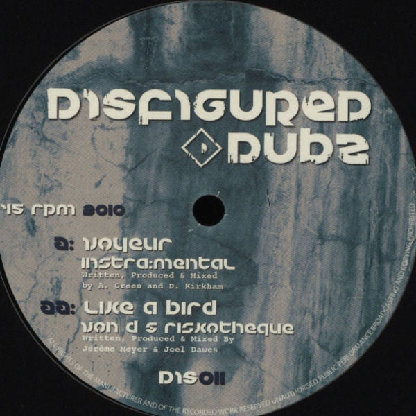 "Instra:mental, Von D, Riskotheque - Voyeur / Like A Bird 12"" DIS011 Disfigured Dubz"