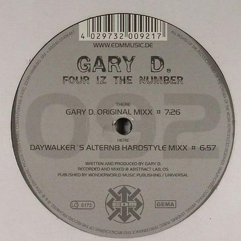 "Gary D - Four Iz The Number 12"" EDM ‎– EDM 092-1"