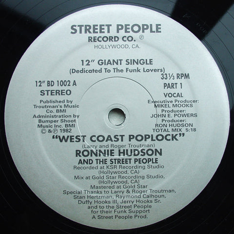 Ronnie Hudson And The Street People - West Coast Poplock - Birdie ‎– BD 1002