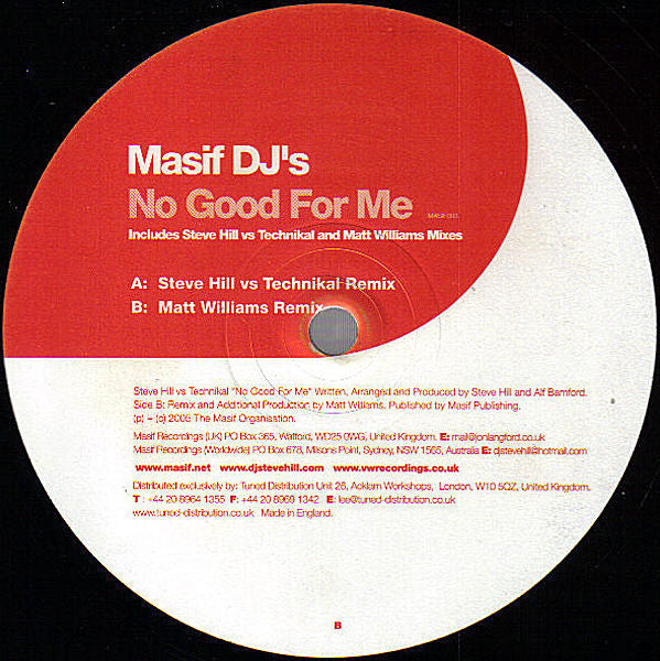 Masif DJ's - No Good For Me - Masif MASIF003