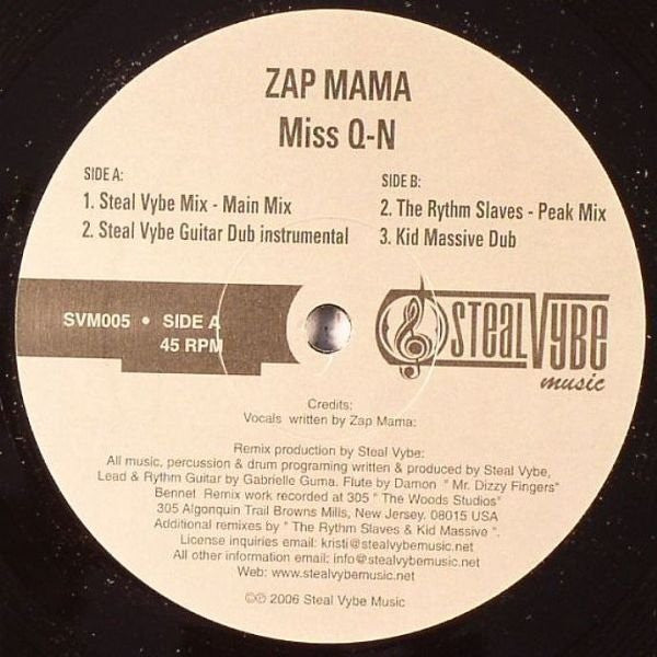 "Zap Mama - Miss Q-N 12"" SVM005 Steal Vybe Music"