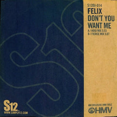 "Felix - Don't You Want Me 12"" S12DJ014 Simply Vinyl (S12)"