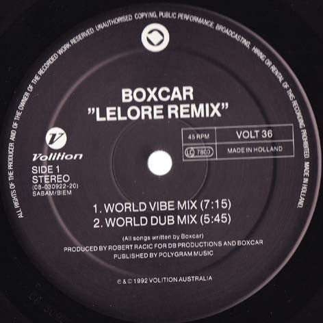 Boxcar - Lelore Remix - VOL36 675003630 Volition, PIAS Holland