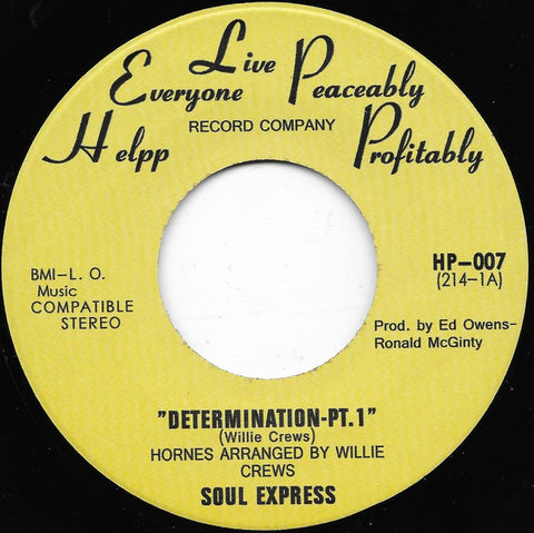 Soul Express - Determination - Helpp Records, Tramp Records ‎– HP-007