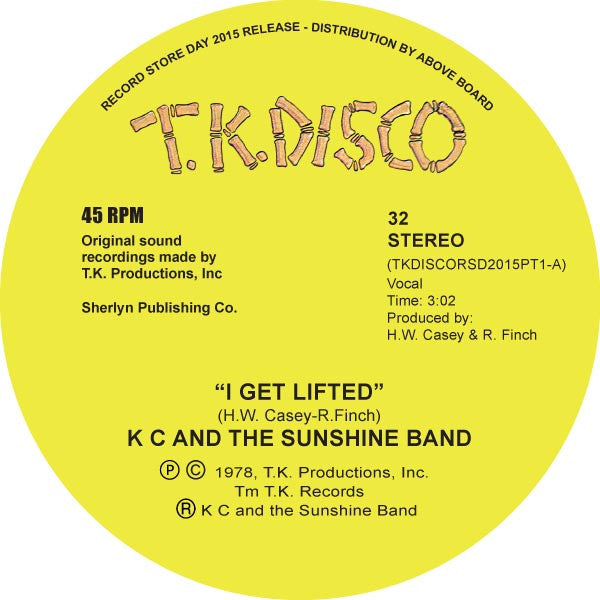 "K C And The Sunshine Band - I Get Lifted 10"" TKDISCORSD2015PT1 TK Disco RSD"