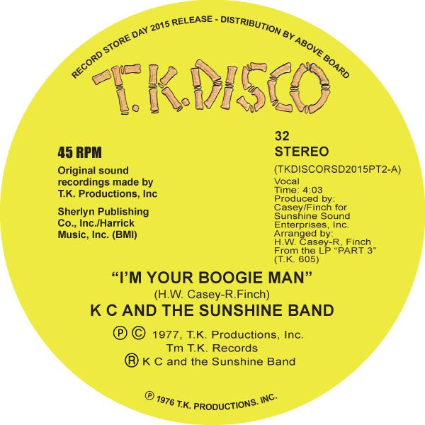 "K C And The Sunshine Band - I'm Your Boogie Man 10"" TKDISCORSD2015PT2 TK Disco RSD"