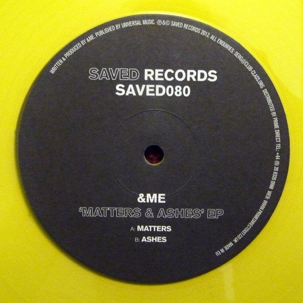 "&Me - Matters & Ashes EP 12"", EP, Yel Saved Records SAVED080"