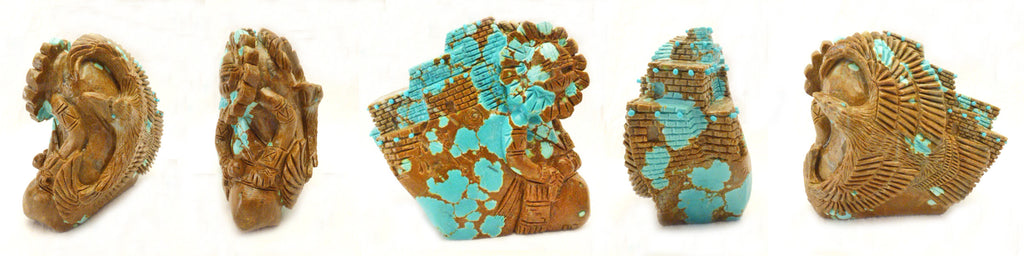 Number Eight Mine Turquoise Eagle with Sun Face Dancer by Terry Aisetewa