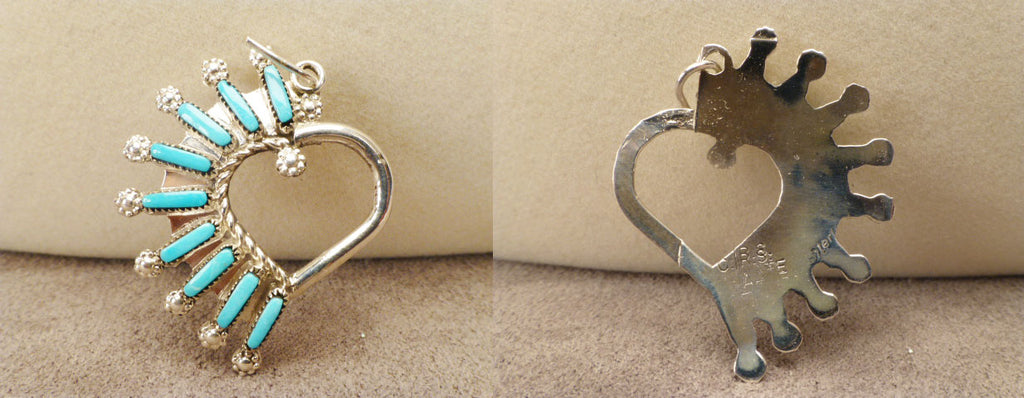 Sterling Silver and Turquoise* Heart Shaped Pendant by Roxanne Seoutewa