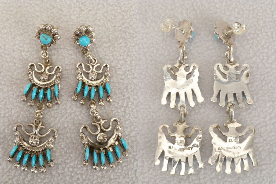 Sterling Silver Turquoise* Needle Point Earrings  by H.I Bowekaty