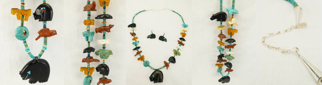 Multistone Multi-Animal Fetish Necklace  by Georgia Quandelacy