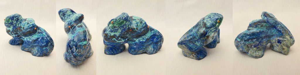 Azurite & Malachite Frogs by Loren Tsalabutie