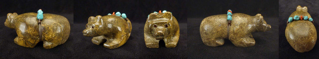 Zuni Leopard Rock   Travertine) Medicine Bear by Felino Eriacho