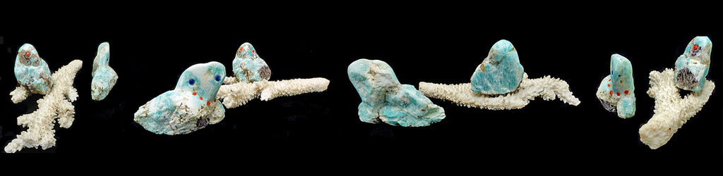 Amazonite Birds, Owls by Robert Michael Weahkee