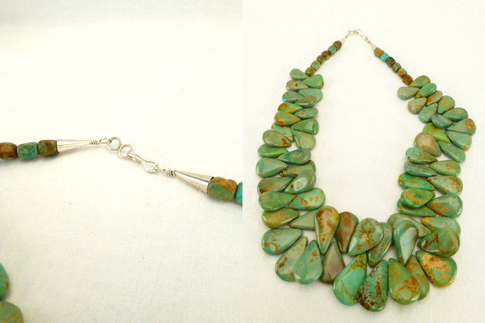 Fox Green Turquoise* Teardrop Turquiose* Bead Necklace  by Lita Atencio
