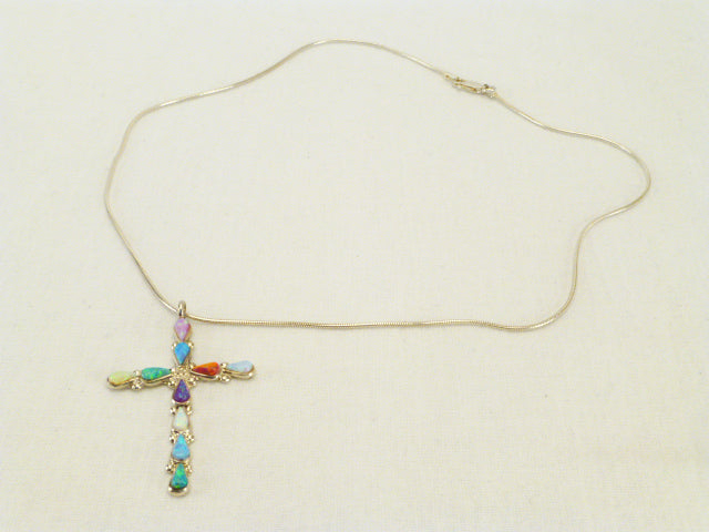 Sterling Silver Cross Necklace  by Cornell Tsalate