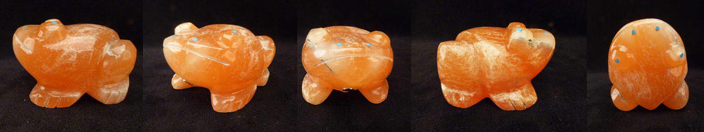 Orange Alabaster Frog by Dinah Gasper