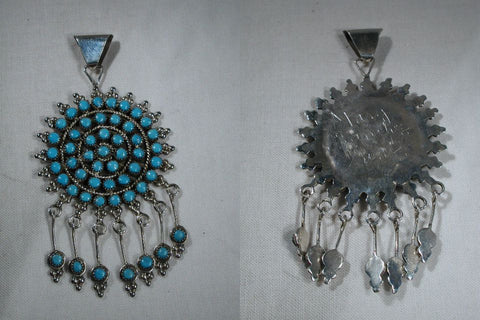 Sterling Silver/Turquoise* Petit Point Turquoise Flower by Mary Sanchez