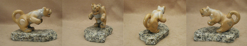 Zuni Rock (travertine) Mountain Lion by Orin Eriacho