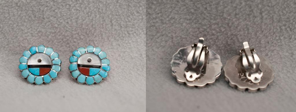 Turquoise* Sunface Earrings by Walter Lalio
