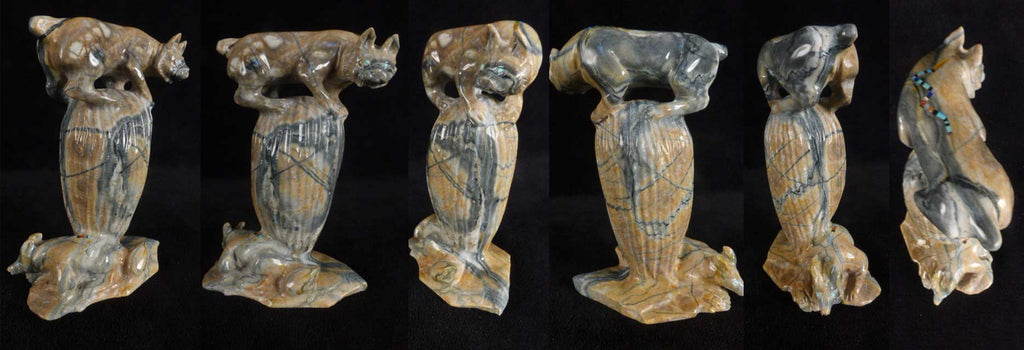 Picasso Marble Bobcat with Coyote by Jeff Shetima