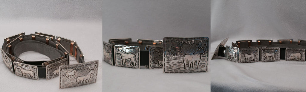 Sterling Silver Livestock Concho Belt by an Unknown Navajo