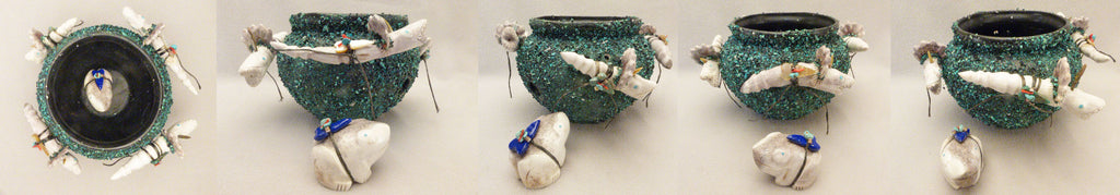 Antler / Pottery Kolowisi Pot with Frog by Robert Michael Weahkee