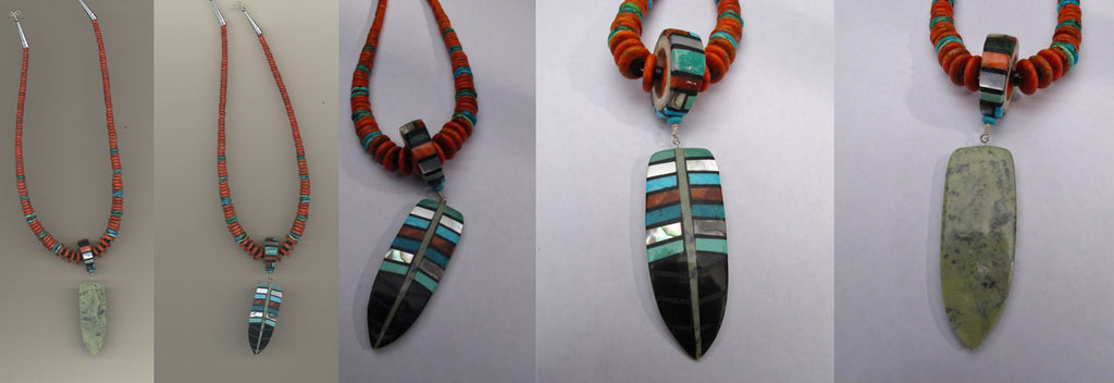 Multistone Feather Necklace by Isaiah Calabaza