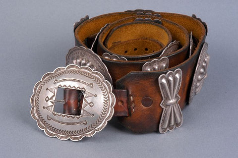 Sterling Silver Hand Stamped Sterling Silver Old Pawn Concho Belt by an Unknown Navajo
